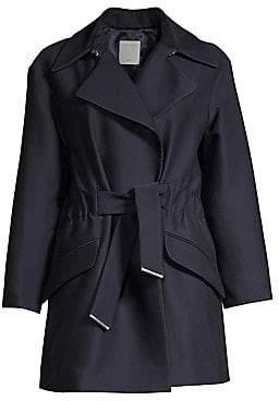Sandro Women's Marius Ruched Tie-Waist Trench Coat