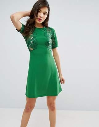 Asos Design Lace Insert Shift mini dress