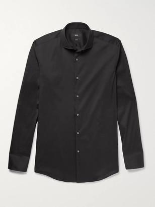 HUGO BOSS Black Jason Slim-Fit Cutaway-Collar Stretch Cotton-Blend Shirt - Men - Black