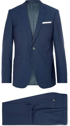 HUGO BOSS Navy Hutson/Gander Slim-Fit Checked Virgin Wool Three-Piece Suit - Men - Navy
