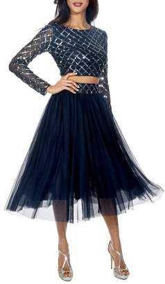 LACE & BEADS Carmel Sequin Top & Tulle Skirt Combo