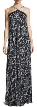 Theia Halter-Neck Scroll-Print Column Gown, Black/White