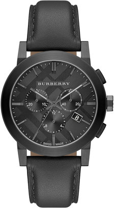 Burberry Men's Swiss Chronograph Dark Gray Leather Strap Watch 42mm BU9364 $695 thestylecure.com