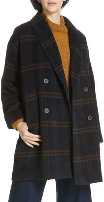 Eileen Fisher Double Breasted Plaid Alpaca Blend Coat