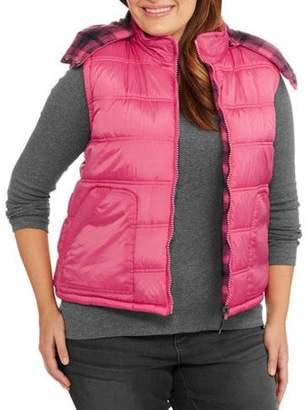 Climate Concepts Women's Plus-Size Reversible Plaid Puffer Vest