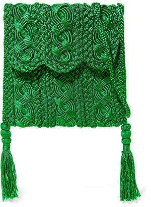 Carrie Forbes - Youssef Small Crocheted Cord Shoulder Bag - Green