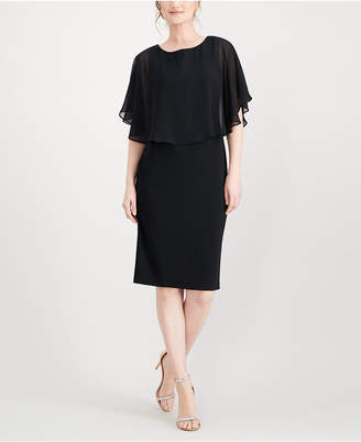 Connected Chiffon Cape A-Line Dress