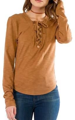 Anama Lace-Up Long-Sleeve Henley