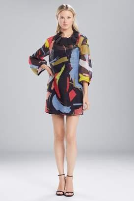 Natori Josie Printed Gauze Dress With Pleated Sleeves