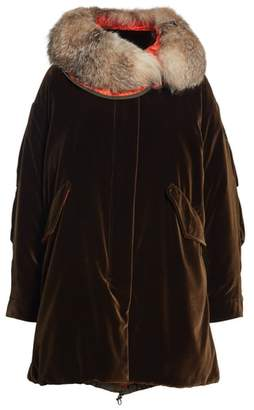 ... Moncler Tadorne Velvet Down Coat with Genuine Fox Fur Trim