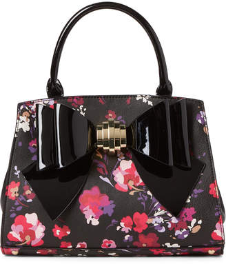 Betsey Johnson Black Floral Bow Satchel
