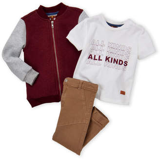 7 For All Mankind Toddler Boys) 3-Piece Color Block Bomber & Khaki Joggers Set