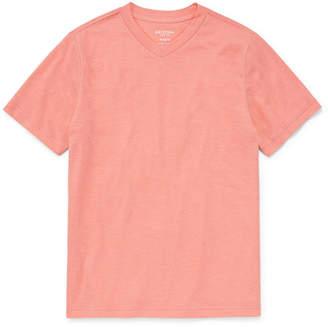 Arizona Short Sleeve V Neck T-Shirt Boys 4-20, Regular & Husky
