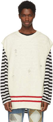 Undercover White Sleeveless Distressed Sweater