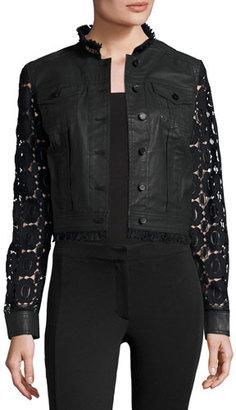 Elie Tahari Meggie Lace-Back Denim Jacket, Black $398 thestylecure.com