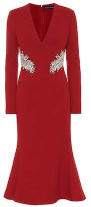 David Koma Embellished wool crêpe dress