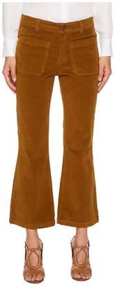 See by Chloe Velvet Crop Kick Flare Pants Women's Casual Pants