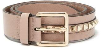 Valentino Rockstud Leather Belt - Womens - Beige