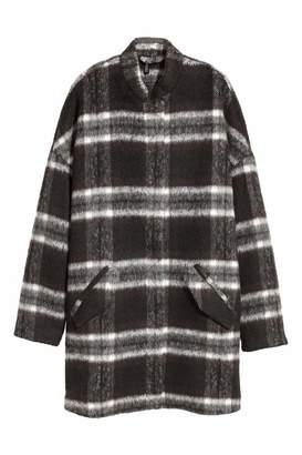 H&M Coat in Boucle Yarn - Black/white checked - Women