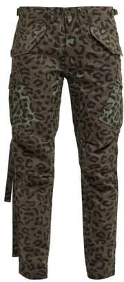 MHI Leopard Print Cotton Twill Cargo Trousers - Womens - Leopard