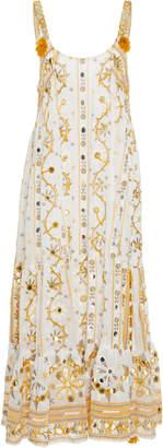 Juliet Dunn Embellished Cotton Midi Dress
