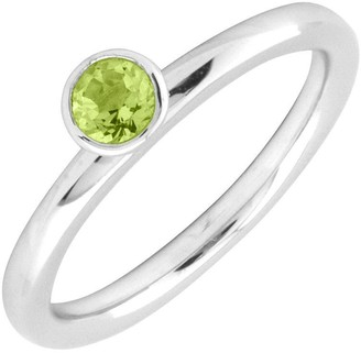 Simply Stacks Sterling 4mm Round Peridot Sol. Stackable Ring