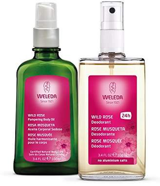 Weleda Skin Pampering 2-Piece Set: Wild Rose Deodorant and Body Oil