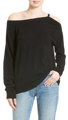 Women's Vince Convertible Cold Shoulder Cashmere Sweater $325 thestylecure.com