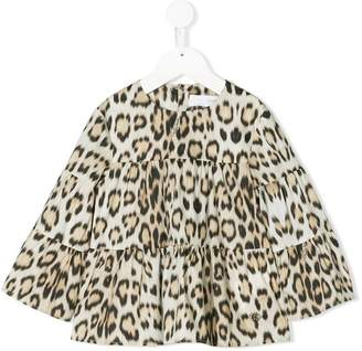 Roberto Cavalli Junior tiered leopard print blouse