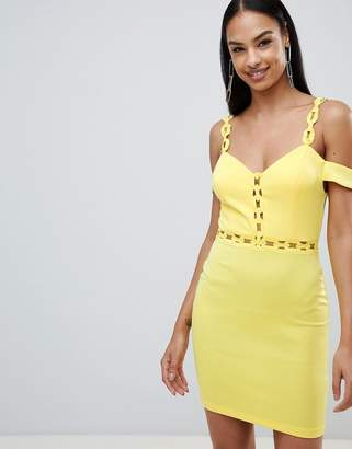 Rare London Chain Trim Bardot Bodycon Dress