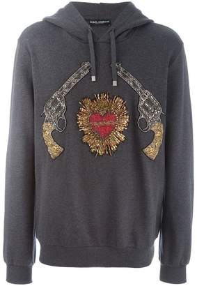 Dolce & Gabbana Sacred Heart gun patch hoodie