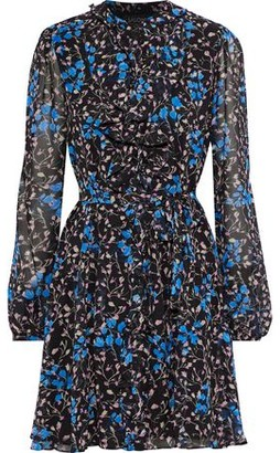 Saloni Tilly Ruffle C Floral-print Silk-chiffon Mini Dress