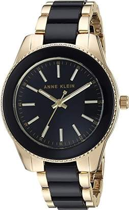Anne Klein Women's AK/3214BKGB Gold-Tone and Black Resin Bracelet Watch