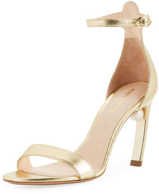 Nicholas Kirkwood Mira Pearl Metallic Leather Ankle-Strap Sandals