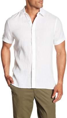 Perry Ellis Solid Linen Short Sleeve Shirt