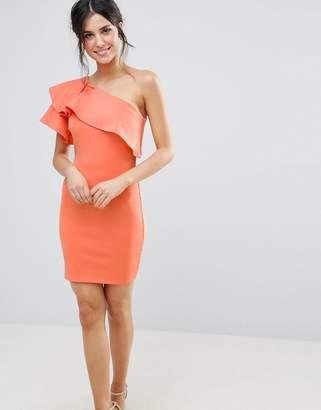 Club L One Shoulder Ruffle Detail Dress
