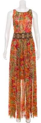 Oscar de la Renta Mesh Printed Dress