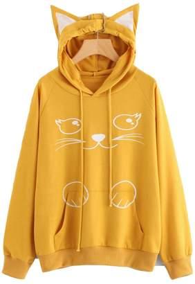 9052e1652b Tomteamell Womens Cat Print Pullover Hoodie Teen Girls Cute Cat Ear Hooded  Sweatshirt L