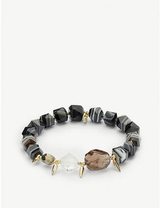 Kendra Scott Sadie 14ct gold-plated and black banded onyx bracelet