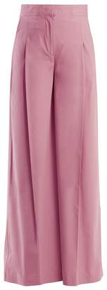 MSGM High-rise wide-leg cotton-blend trousers