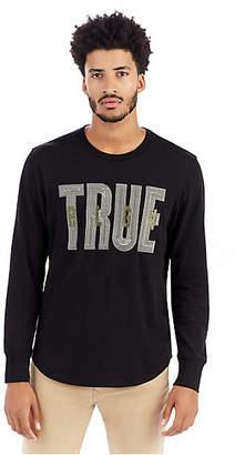 True Religion Mens Metallic Embroidered Graphic Shirt