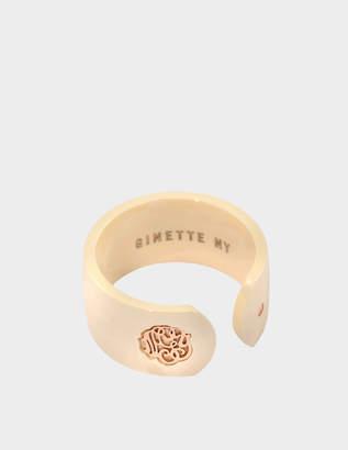 ginette_ny Ivory ceramic monogram open ring