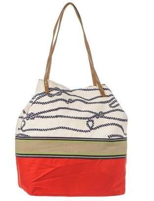 Black Nautical Red and Cream Beach Bag
