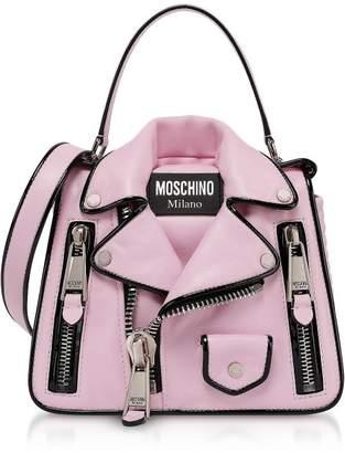 Moschino Pink Biker Jacket Top Handle Satchel Bag