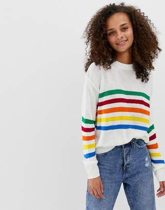 Daisy Street Sweater With Rainbow Stripe Panel