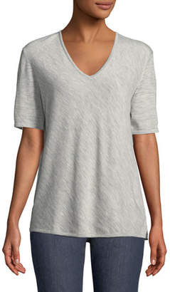 Escada V-Neck Short-Sleeve Diagonal Cashmere Top