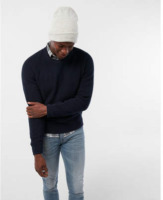 Express mixed texture crew neck sweater