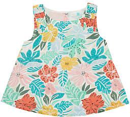 John Lewis & Partners Girls' Tropical Woven Top, Green
