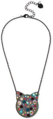 "Betsey Johnson Hematite-Tone Multi-Crystal Cat Face Pendant Necklace, 16"" + 3"" extender"