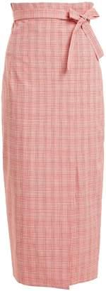 Stella Jean Checked tie-waist cotton-blend pencil skirt